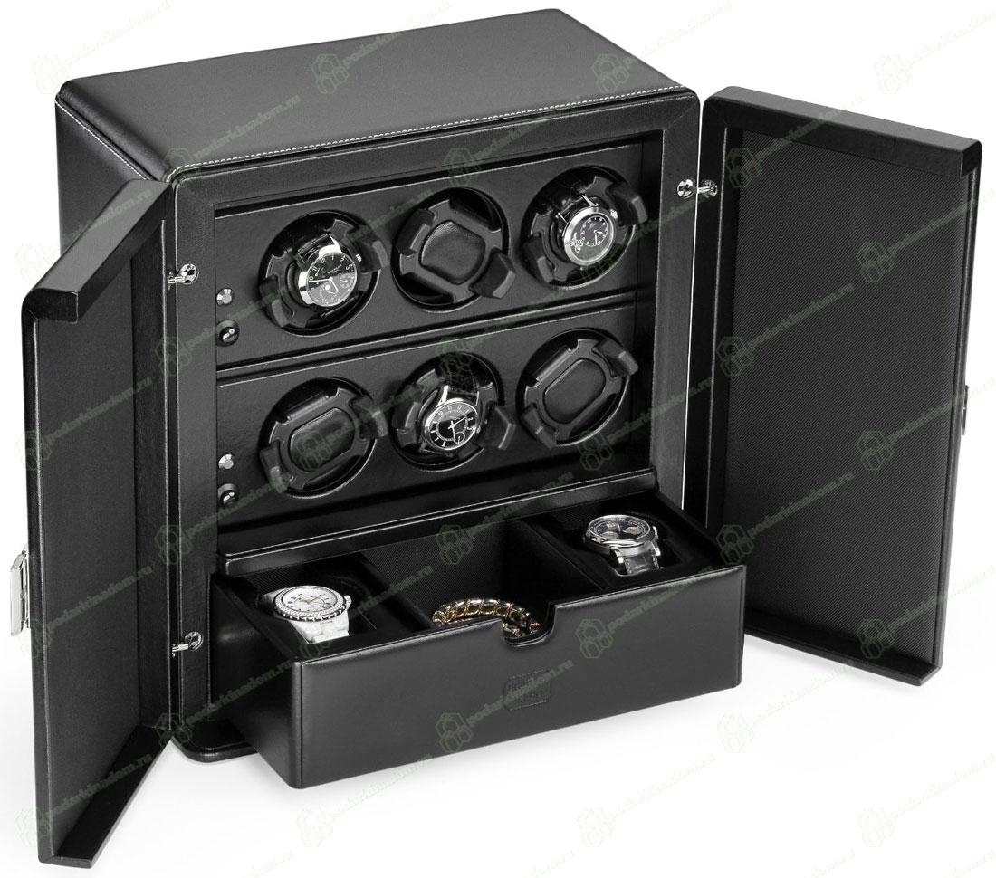 Scatola del Tempo 6RT SP EB OS 1 VETRO Шкатулка для наручных часов Scatola del Tempo для подзавода 6-ти часов, 1 ящик для хранения часов и аксессуаров полированая с 1-ой стекляной дверцой