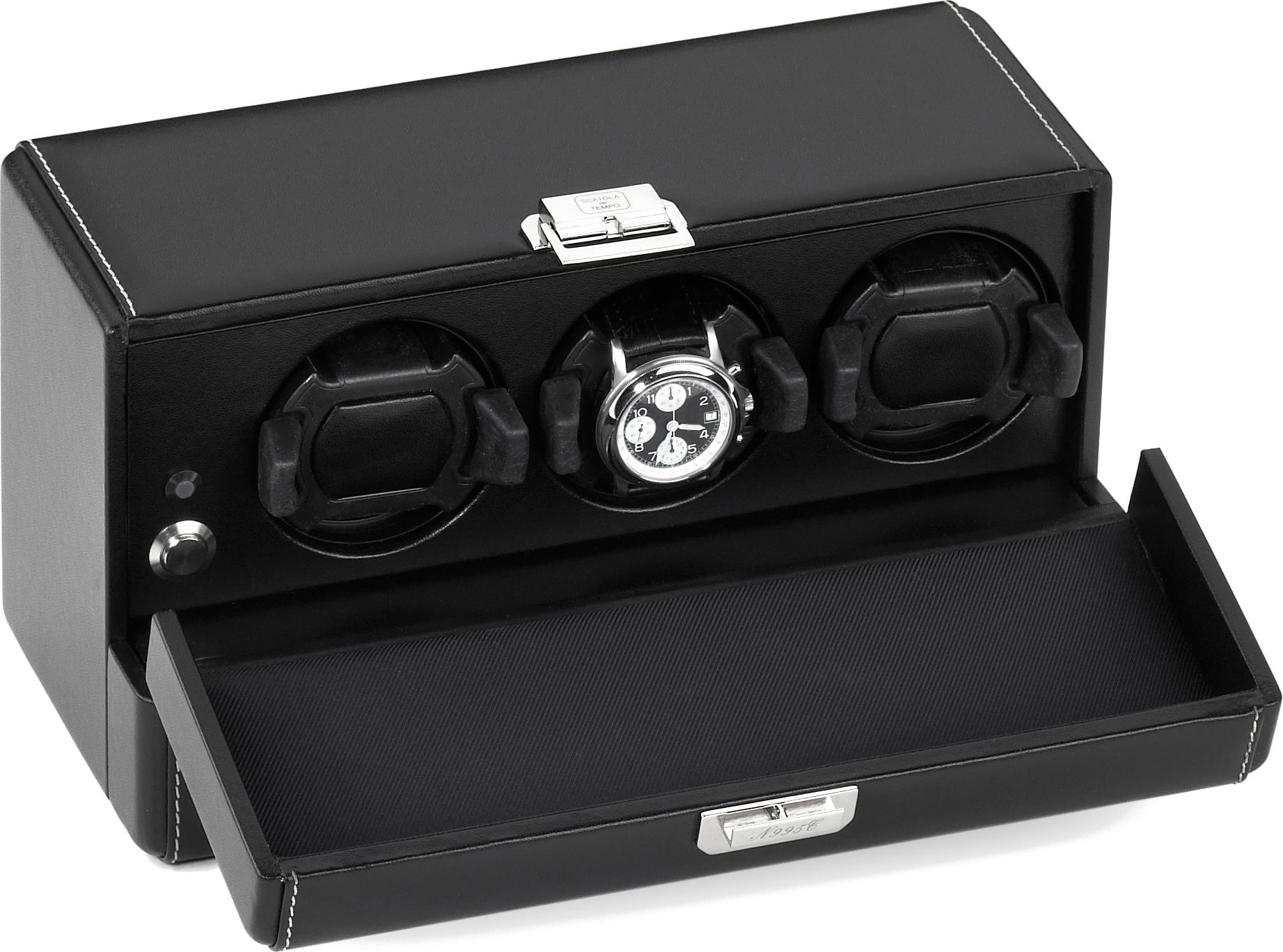 Scatola del Tempo 3RT OS BLACK Шкатулка для трех механических часов с автоподзаводом, отделана натуральной кожей черного цвета