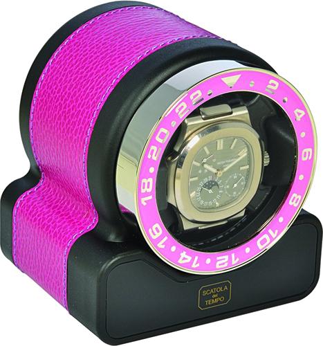 Scatola del Tempo Rotor One Neon Pink Шкатулка для подзавода 1-х механических часов с окошком.