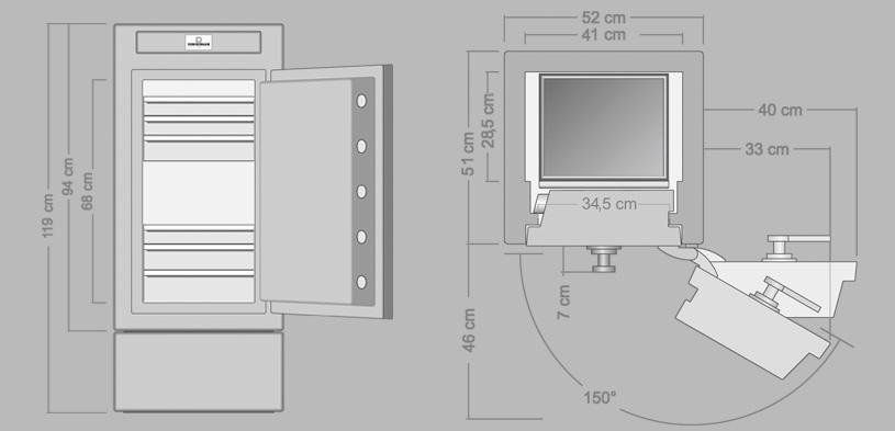 Imperial Сейф с ящичками и для статического хранения драгоценностей из высококачественной стали с лаковым покрытием