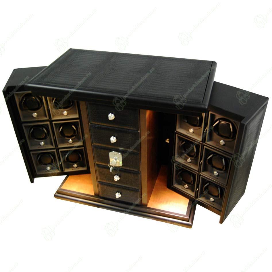 UN-251 SC Футляр-коробка для часов и ювелирных изделий, пятиуровневая, кожа,тиснение крокодил, черный