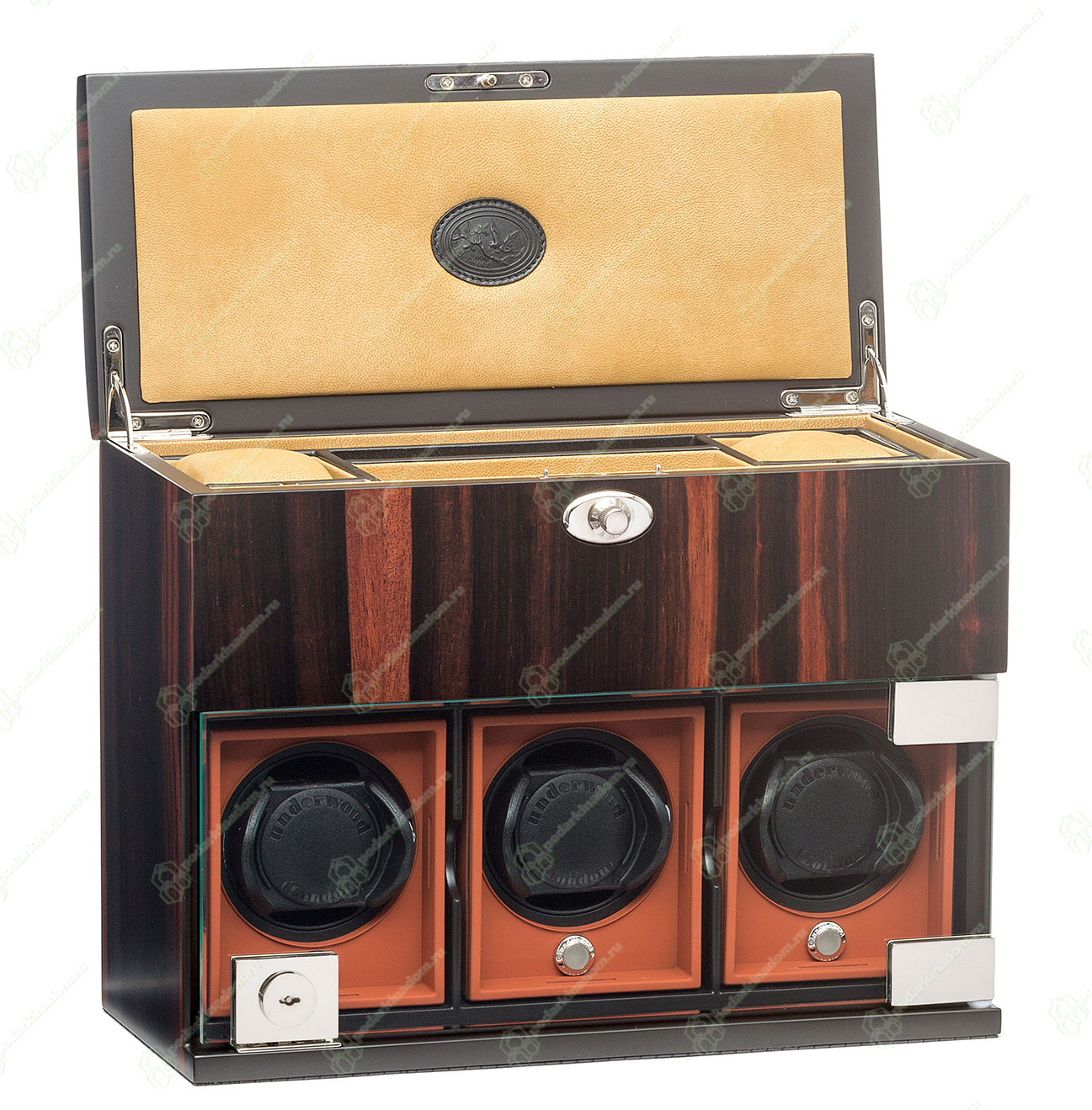 UN/7824 Деревянная шкатулка для 3 наручных часов. Корпус отделан шпоном эбенового дерева. Новинка 2016 года.
