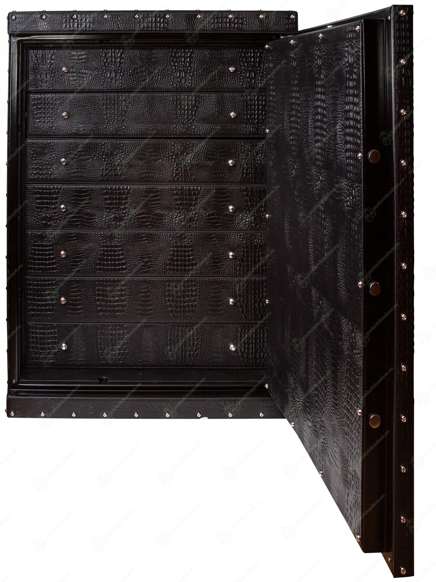 UN-855 Большой кожаный сейф для драгоценностей и наручных часов. Заводные модули при нажатии кнопки плавно выезжают вверх.
