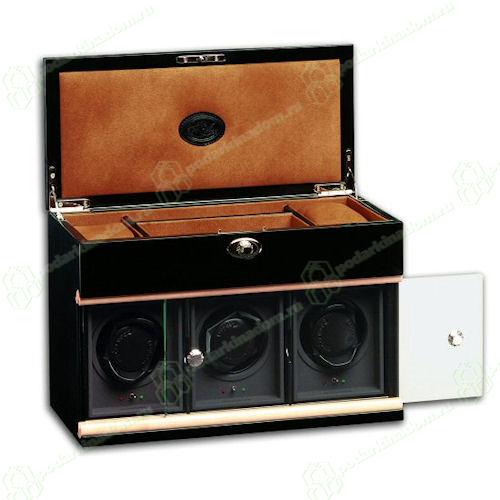 Underwood UN862 Модуль на трое часов с отделением для ювелирных изделий, деревянный, черный лаковый