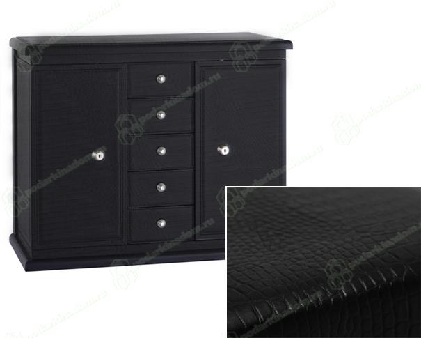 Underwood UN-251 SC Футляр-коробка для часов и ювелирных изделий, пятиуровневая, кожа,тиснение крокодил, черный