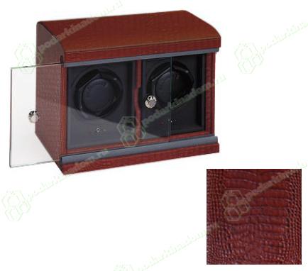 Underwood UN/815/C Brown Бокс для двух механических часов с автоподзаводом, кожаный, тиснение крокодил, коричневый