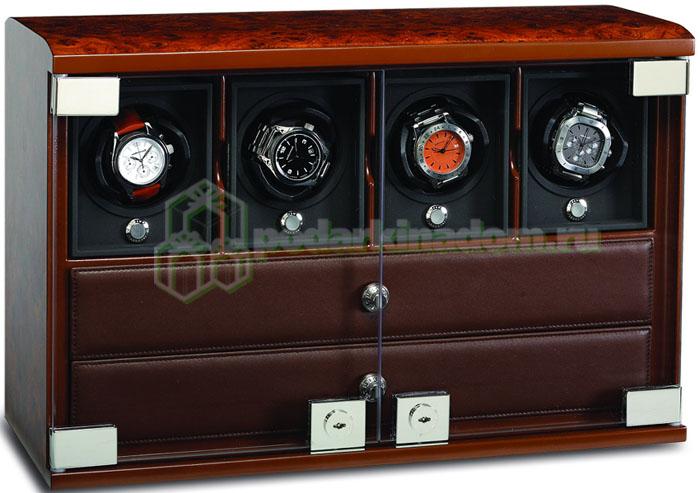 Underwood UN-848 Бокс для подзавода 4 часов + отделение для ювелирных изделий + отделение для хранения самих часов.