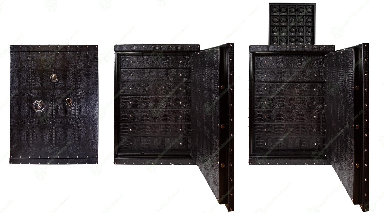 Underwood UN-855 Большой кожаный сейф для драгоценностей и наручных часов. Заводные модули при нажатии кнопки плавно выезжают вверх.
