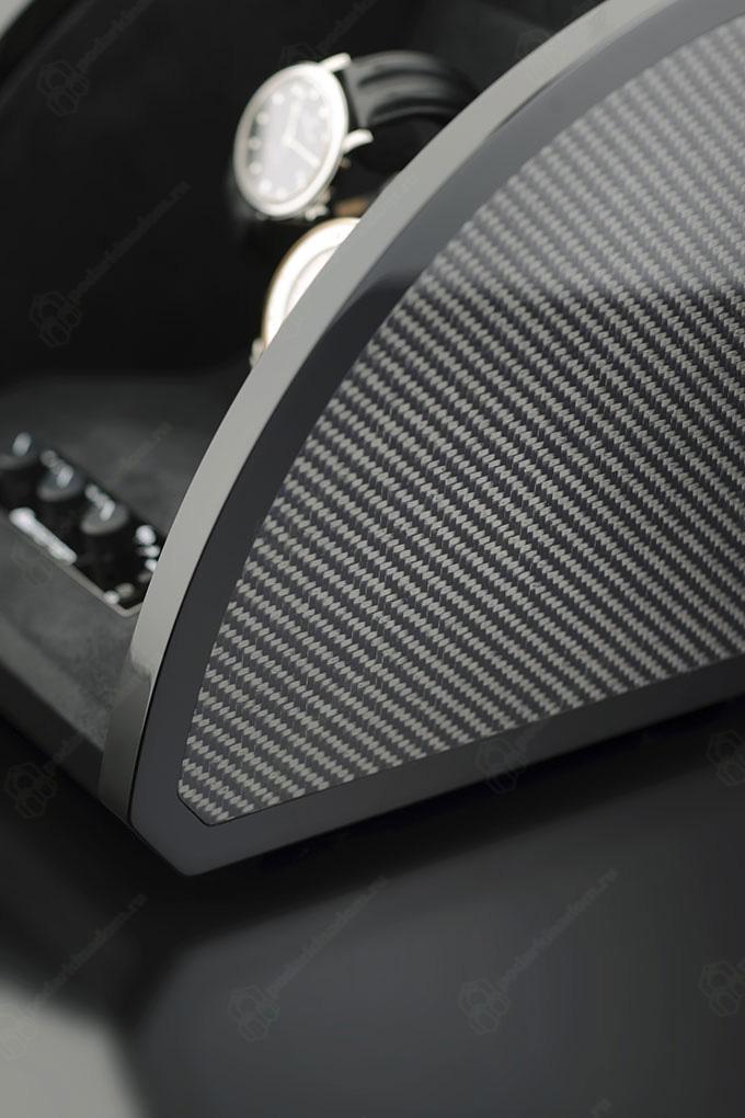1038249 Шкатулка для 4 наручных часов. Черная полированная, отделка карбон. Обеспечивает все типы подзавода: по часовой стрелке, против часовой стрелки и переменное вращение.