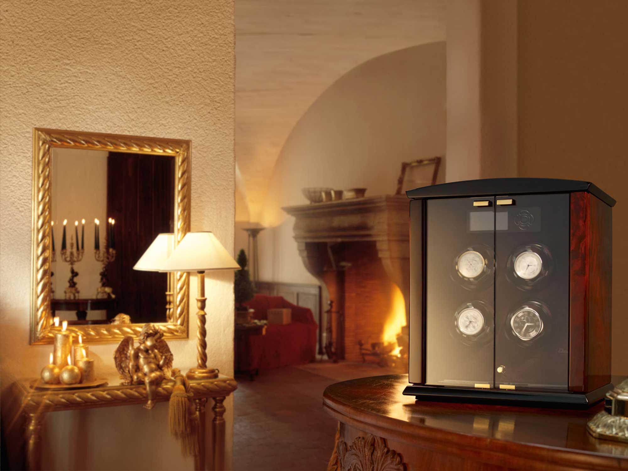 Corona 4 burlwood / glass doors Шкатулка для часов Elma Corona 4 из натурального дерева для завода автоматических часов.