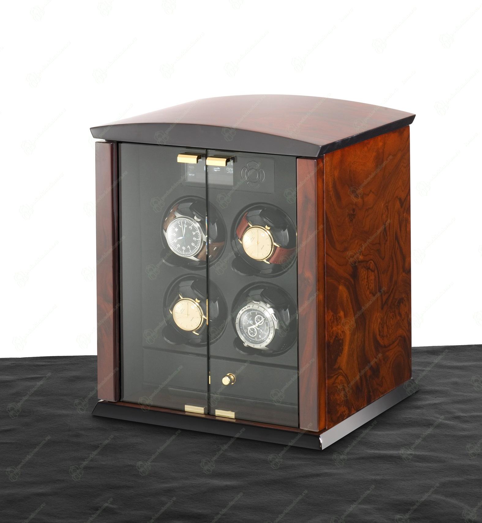 ELMA motion Corona 4 burlwood / glass doors Шкатулка для часов Elma Corona 4 из натурального дерева для завода автоматических часов.