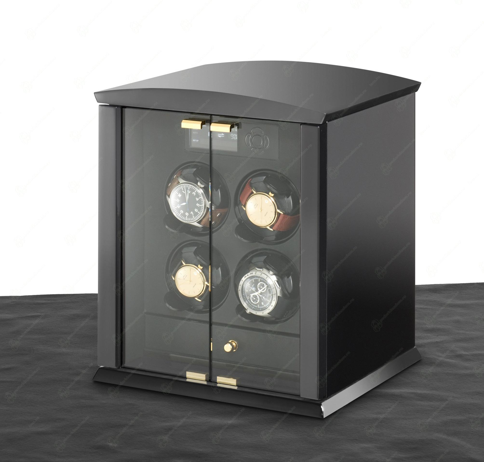 ELMA motion Corona 4 Version piano / glass doors Шкатулка для 4 часов с автоподзаводом Elma Corona 4 черный лак